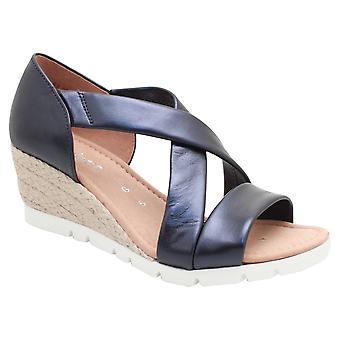 Gabor Soft læder Navy crossover Wedge Sandal
