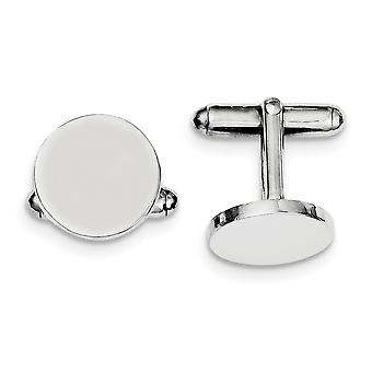 925 Sterling Silver Solid Polished Engravable Round Cuff Links Jewelry Gifts for Men - 10.6 Grams