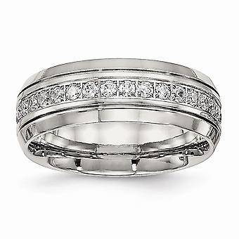 8mm Edelstahl gravierbare poliert halb Runde gerillt CZ Zirkonia simuliert Diamant Ring Schmuck Geschenke für Wo