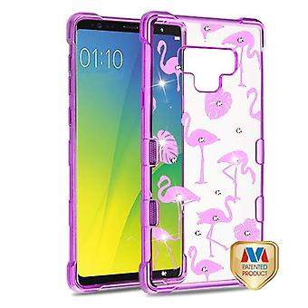 MYBAT Purple Plating & Flamingo Land Diamante TUFF Klarity Candy Skin Cover  for Galaxy Note 9