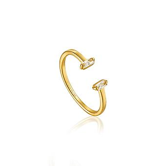 Ania Haie Sterling Silver Shiny Gold Plated Glow Adjustable Ring R018-04G