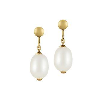 Eternal Collection Doyenne AAA Valkoinen makeanveden Pearl Gold Tone Drop Clip korva korut