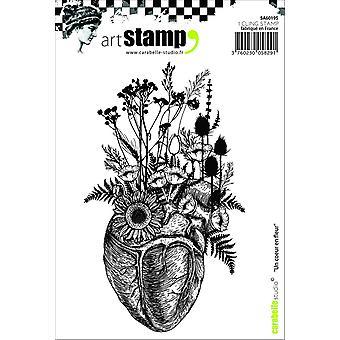 """Carabelle Studio """"ett hjärta blomma"""" Cling stämpel, vit/Transparent, A6"""