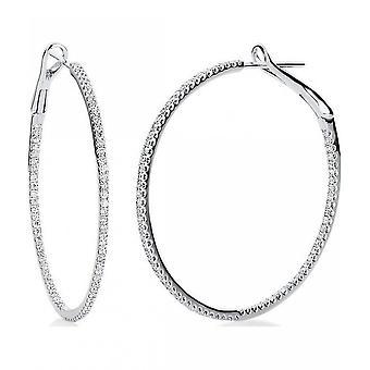 Diamond creoles hoop earrings - 18K 750/- white gold - 0.76 ct.