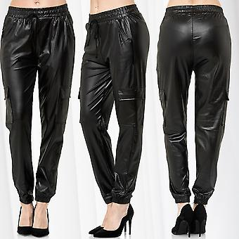 Womens Baggy Pants Cargo Boyfriend Trousers Leather Optics Harem Jogging Relaxed