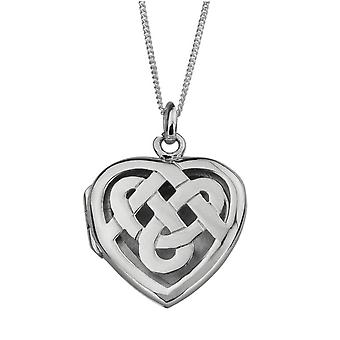 "Celtic Eternity Interlaced Knotwork Love Heart Shape Locket Necklace Pendant - Includes 22"" Silver Chain"