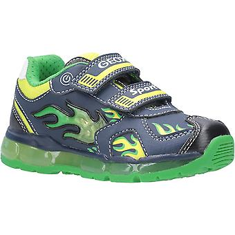 Geox Kids J Android Boy C Touch Fastening Trainer Navy/Lime