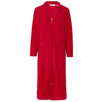 Slenderella HC6322 Women's Red Zip Up Dressing Gown House Coat Robe