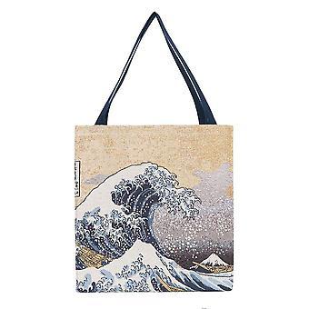 Hokusai - great wave off kanagawa gusset bag by signare tapestry / guss-art-jp-wave