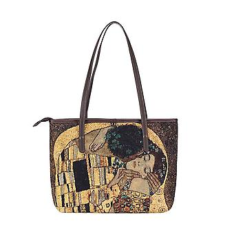 Gustav klimt - gold kiss shoulder tote bag by signare tapestry / coll-art-gk-gdks