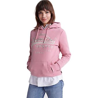 Superdry Premium Goods Luxe Embroidered Hoodie Pink 13