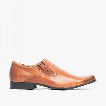 Voorzijde Enzo II mens lederen slip op puntige schoenen Tan