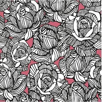 Black White Pink Floral Wallpaper Flower Roses Fine Decor