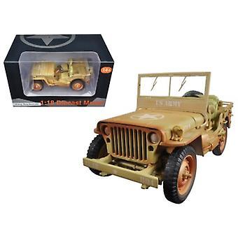 US Army WWII Jeep Vehicle Wüste Farbe verwittert Version 1/18 Diecast Modellauto von American Diorama