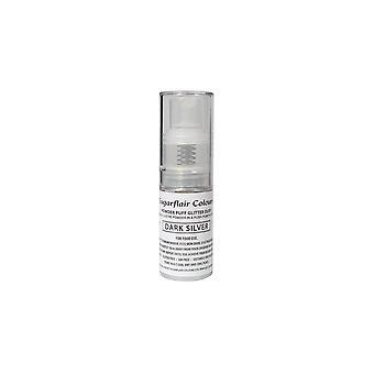 Sugarflair poeder Puff glitter Dust spray-donker zilver 10g