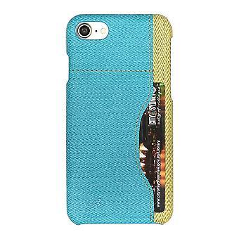 Para iPhone SE(2020), 8 e 7 Case, Elegante Padrão tecido Durável Capa de Couro Protetor, Azul