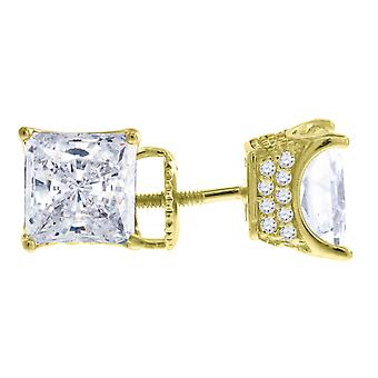 925 Sterling Silver Yellow tone Mens CZ Cubic Zirconia Simulated Diamond 7mm Princess cut White Stone Earrings Jewelry G