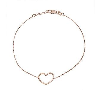 14k Rose Gold Open Love Heart Ajustável Pulseira Lagosta Claw Closure 7.50 Inch Joias Presentes para Mulheres