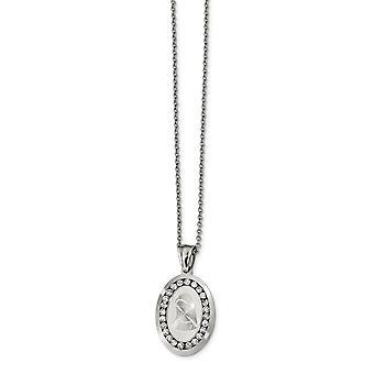 Acero inoxidable pulido y corte láser con CZ Zirconia cúbica simulada diamante Mary collar 22 pulgadas regalos de joyería para