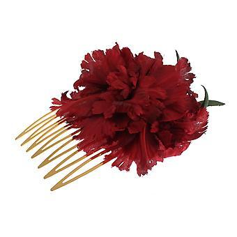 Dolce & Gabbana Red Silk Rose Garofani Gold Runway Hair Comb Stick