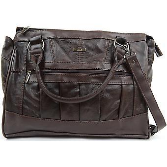 Naiset / naisten nahka käytännön käsilaukku / olkalaukku, jossa irrotettava hihna - ruskea