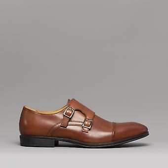 Steptronic Fresno Mens Leather Monk Strap Shoes Cognac