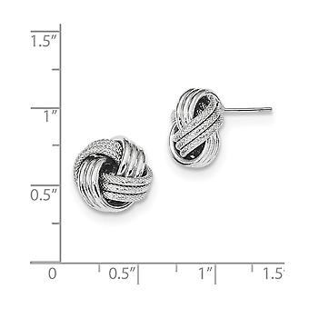 14k White Gold Polished Textured Love Knot Post Earrings Jewelry Gifts for Women - 1.7 Grams
