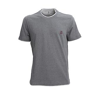 Brunello Cucinelli M0t617427gcu263 Men's Grey Cotton T-shirt