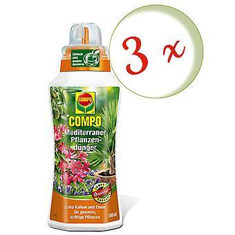 Sparset: 3 x COMPO Mediterranean plant fertilizer, 500 ml
