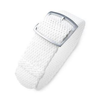 Strapcode fabric watch strap 19mm, 20mm, 22mm miltat perlon watch strap, white, sandblasted ladder lock slider buckle