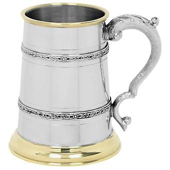 Celtic Double Band Brass Lip and Brass Base Pewter Tankard - 1 Pint