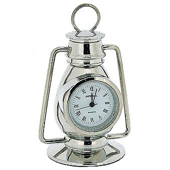 Miniature Chrome Plated Metal Hurricane Lamp Novelty Collectors Clock IMP77S