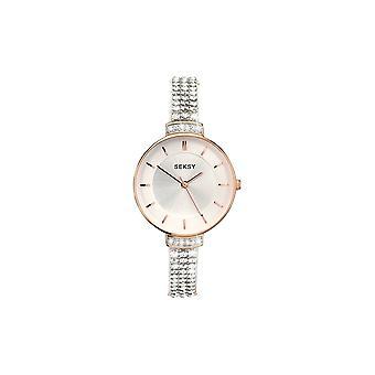 Seksy Ladies 2448 Round Silver Dial Rose Crystal Bracelet Watch
