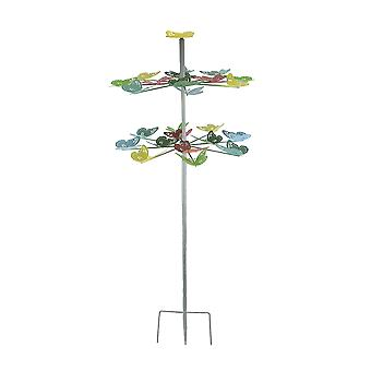 Colorful Two Tier Metal Butterfly Horizontal Spinning Garden Stake