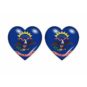 2x Sticker sticker flag heart usa North Dakota