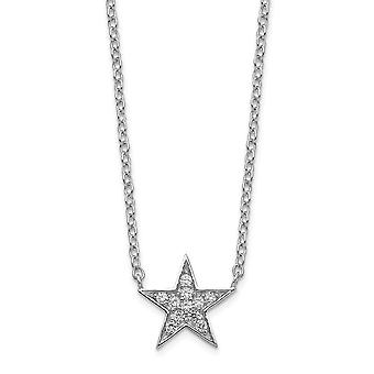925 Sterling Silver CZ Cubic Zirconia Simulated Diamond Star Necklace 18 Inch Jewelry Gifts for Women