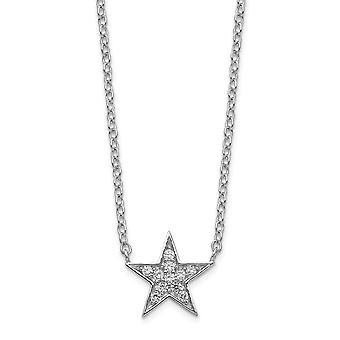 925 Sterling Silver CZ Cubic Zirconia Gesimuleerde Diamond Star Ketting 18 Inch Sieraden Geschenken voor vrouwen