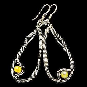 "Yellow Cultured Pearl 925 Sterling Silver Earrings 2 1/4""  - Handmade Boho Vintage Jewelry EARR400570"