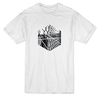 Black And White Fence Octagon Design Herren T-shirt