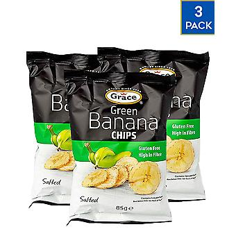 3 Pack x 85gr Grace Green Banana Chips Lanches Saudáveis