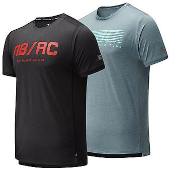New Balance Mens 2020 Printed Impact Run SS camiseta ligera transpirable