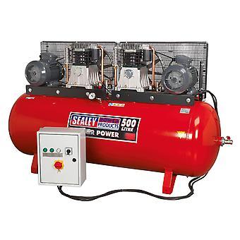 Sealey Sac4505555B kompressor 500Ltr 2 X 5.5Hp 3Ph 2-trins med støbt cylindre