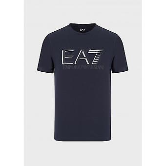 EA7 by Emporio Armani Cotton Printed Logo Navy T-shirt
