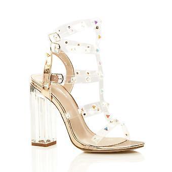 Ajvani naisten korkea kantapää perspex tuskin siellä nastoitettu t-Bar strappy sandaalit