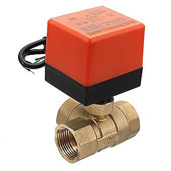 Motorized brass three way ball valve