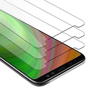 Cadorabo 3x Tank Foil for Samsung Galaxy A8 2018 - Protective Film in KRISTALL KLAR - 3 Pack Tempered Display Protective Glass in 9H Hardness with 3D Touch Compatibility