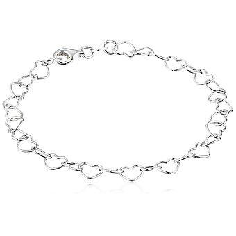 """Sterling Silver 5.3mm Heart-Link Bracelet, 7.25"""", Prata, Tamanho 7.2"""