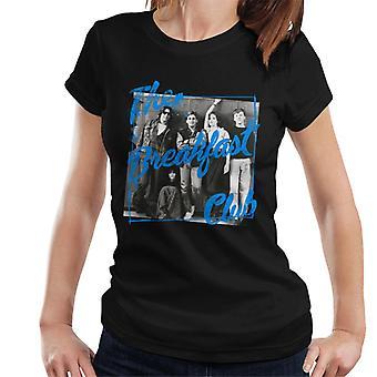 The Breakfast Club School Lockers Blue Text Overlay Women's T-Shirt