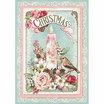 Stamperia Rice Paper A4 Pink Christmas Candle