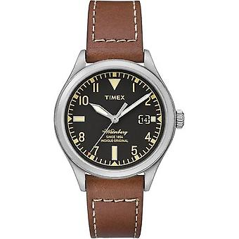 Timex The Waterbury Men's Analog Quartz Watch With Date And Leather Strap - Black - Tw2p84600